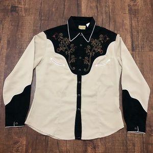 Vintage Wrangler Rose Pattern Button Up